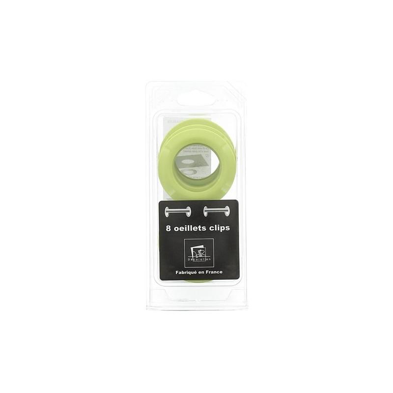 8 oeillets clipser pour rideaux 40mm vert pistache. Black Bedroom Furniture Sets. Home Design Ideas